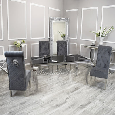 1.8m | Black Glass | Louis Dining Set | Emma Chairs