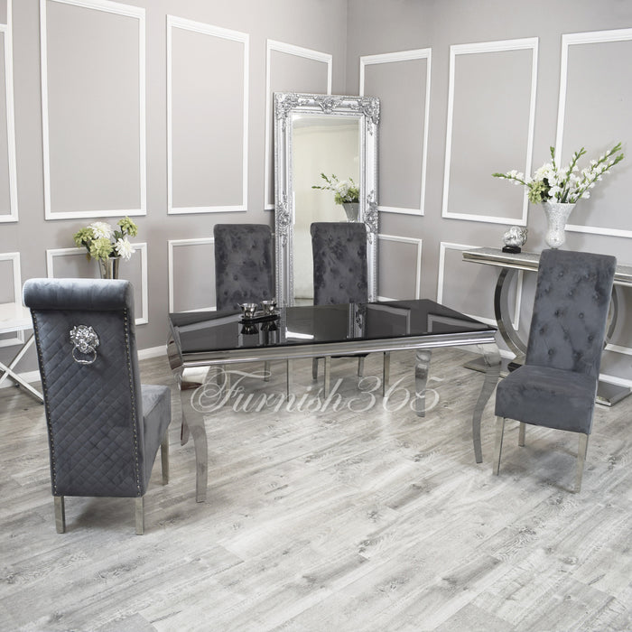1.6m | Black Glass | Louis Dining Set | Emma Chairs