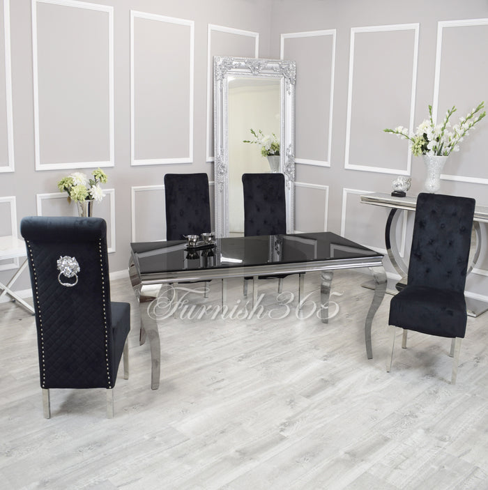 2m | Black Glass | Louis Dining Set | Emma Chairs