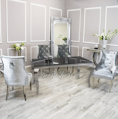 1.8m | Black Glass | Louis Dining Set | Duke Chairs