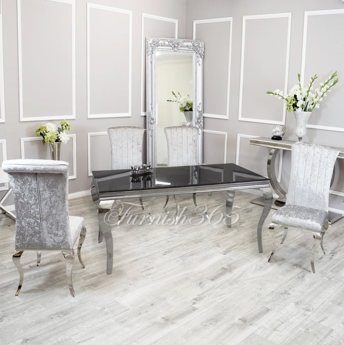 1.8m | Black Glass | Louis Dining Set | Nicole Chairs