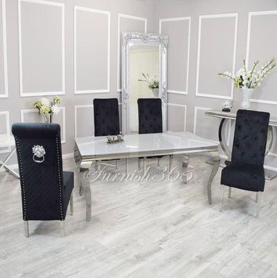 1.8m | White Glass | Louis Dining Set | Emma Chairs