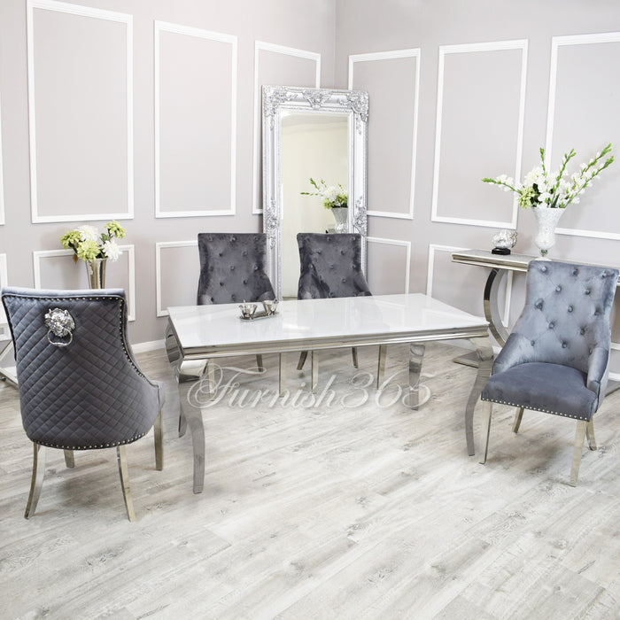 1.6m | White Glass | Louis Dining Set | Bentley Chairs