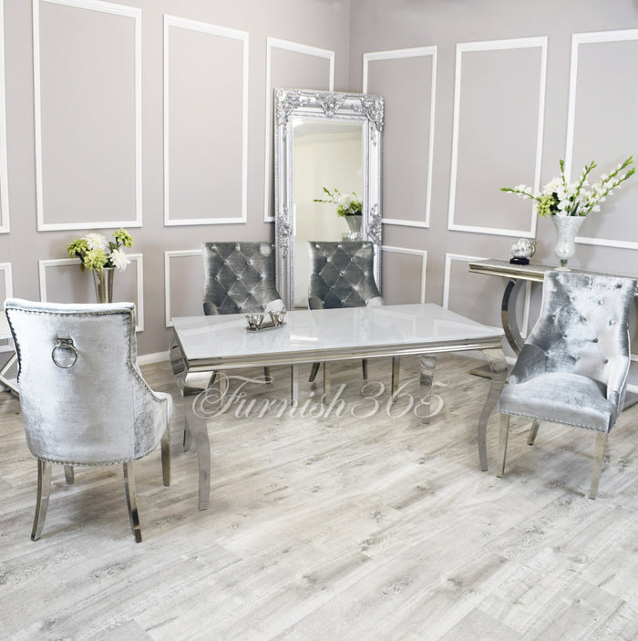 1.6m | White Glass | Louis Dining Set | Duke Chairs