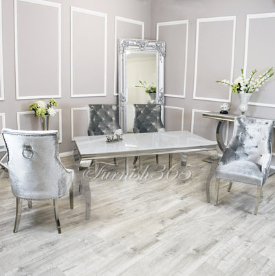 1.4m | White Glass | Louis Dining Set | Duke Chairs