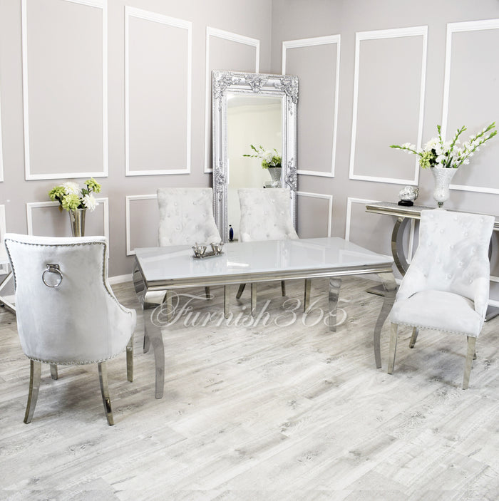 2m | White Glass | Louis Dining Set | Duke Chairs
