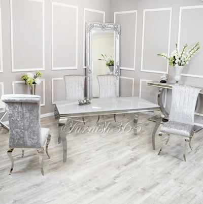 1.6m | White Glass | Louis Dining Set | Nicole Chairs
