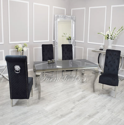 1.6m | Grey Glass | Louis Dining Set | Emma Chairs
