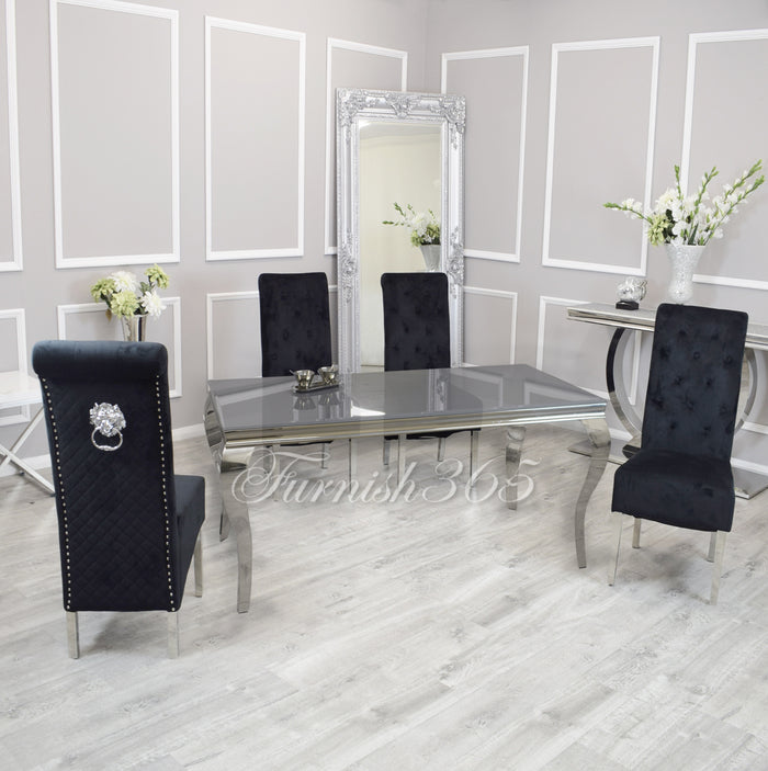 1.4m | Grey Glass | Louis Dining Set | Emma Chairs