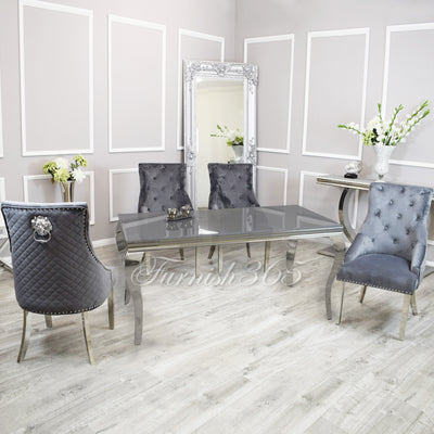 1.6m | Grey Glass | Louis Dining Set | Bentley Chairs