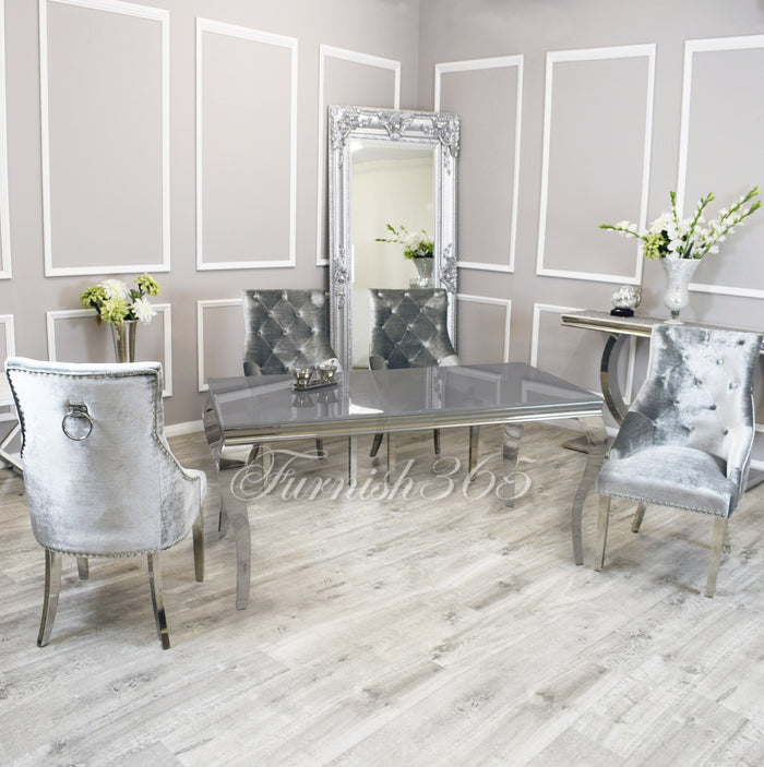 1.6m | Grey Glass | Louis Dining Set | Duke Chairs