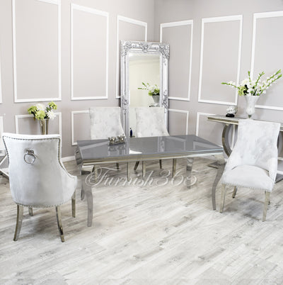 1.8m | Grey Glass | Louis Dining Set | Duke Chairs