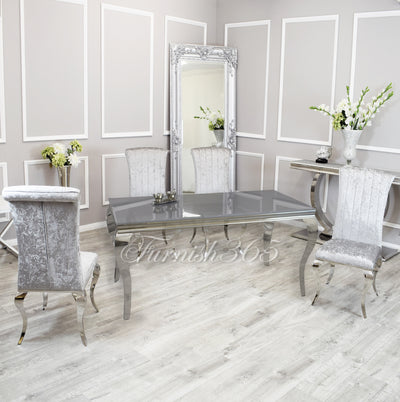 1.8m | Grey Glass | Louis Dining Set | Nicole Chairs