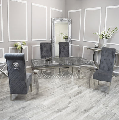 1.6m | Dark Grey Marble | Louis Dining Set | Emma Chairs