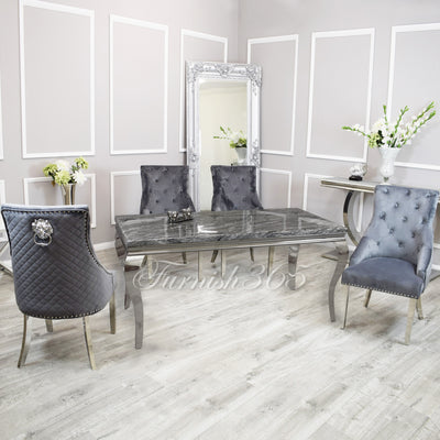 2m | Dark Grey Marble | Louis Dining Set | Bentley Chairs