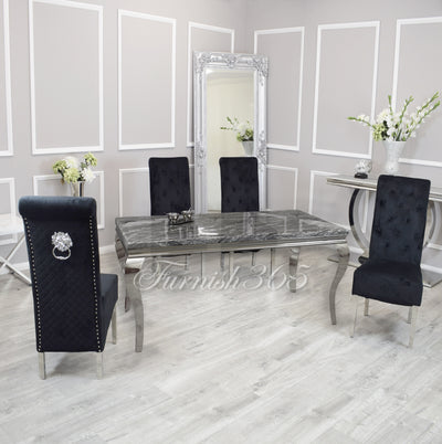 1.8m | Dark Grey Marble | Louis Dining Set | Emma Chairs