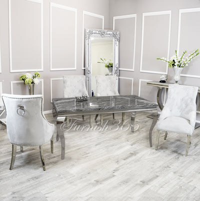1.4m | Dark Grey Marble | Louis Dining Set | Duke Chairs