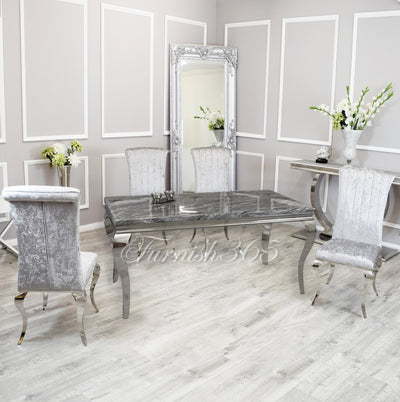 1.6m | Dark Grey Marble | Louis Dining Set | Nicole Chairs