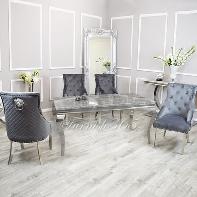 1.6m | Light Grey Marble | Louis Dining Set | Bentley Chairs