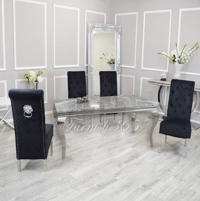 2m | Light Grey Marble | Louis Dining Set | Emma Chairs