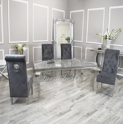 1.6m | Light Grey Marble | Louis Dining Set | Emma Chairs