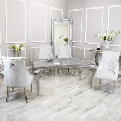 1.6m | Light Grey Marble | Louis Dining Set | Duke Chairs