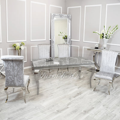 1.6m | Light Grey Marble | Louis Dining Set | Nicole Chairs