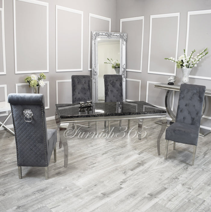 2m | Black Marble | Louis Dining Set | Emma Chairs