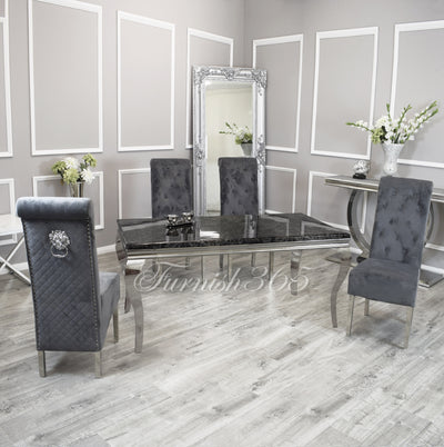 1.6m | Black Marble | Louis Dining Set | Emma Chairs