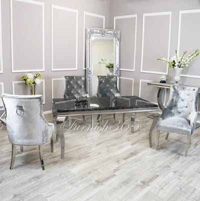 1.8m | Black Marble | Louis Dining Set | Duke Chairs