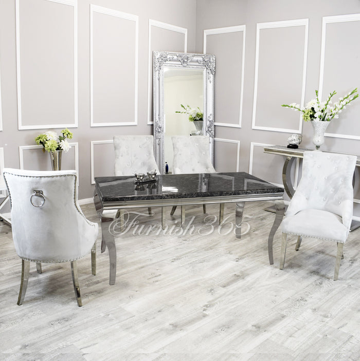 1.4m | Black Marble | Louis Dining Set | Duke Chairs