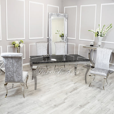 1.6m | Black Marble | Louis Dining Set | Nicole Chairs