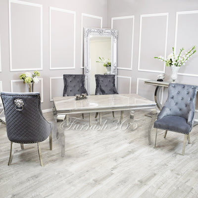 1.8m | Ivory Smoke Marble | Louis Dining Set | Bentley Chairs