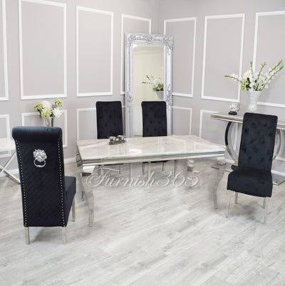 2m | Ivory Smoke Marble | Louis Dining Set | Emma Chairs