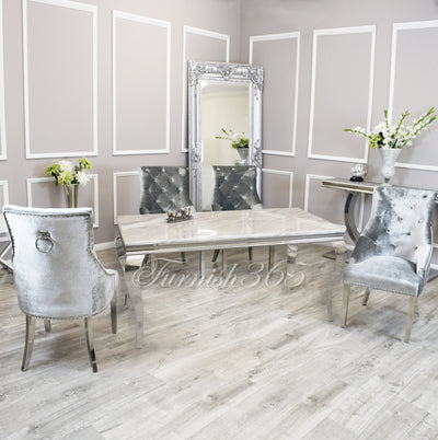 1.6m | Ivory Smoke Marble | Louis Dining Set | Duke Chairs