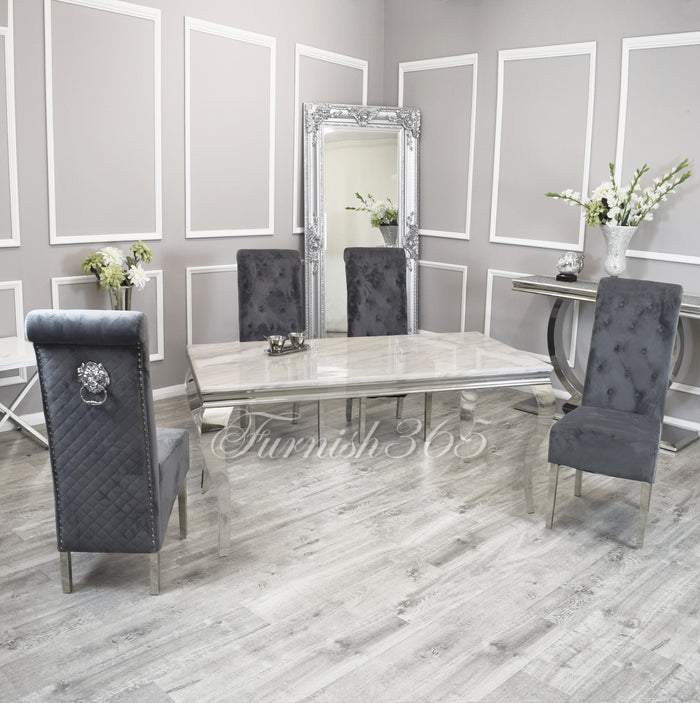 1.4m | Ivory Smoke Marble | Louis Dining Set | Emma Chairs