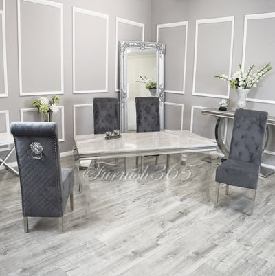 1.6m | Ivory Smoke Marble | Louis Dining Set | Emma Chairs