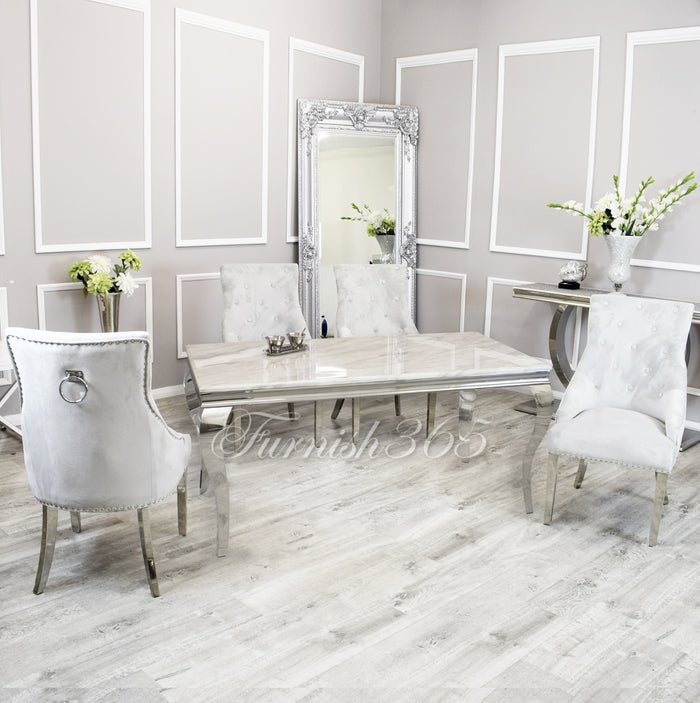 1.8m | Ivory Smoke Marble | Louis Dining Set | Duke Chairs