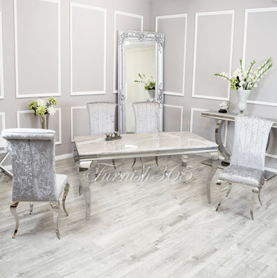 2m | Ivory Smoke Marble | Louis Dining Set | Nicole Chairs