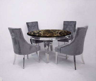 1.3m Round | Black Marble | Louis Dining Set | Duke Chairs