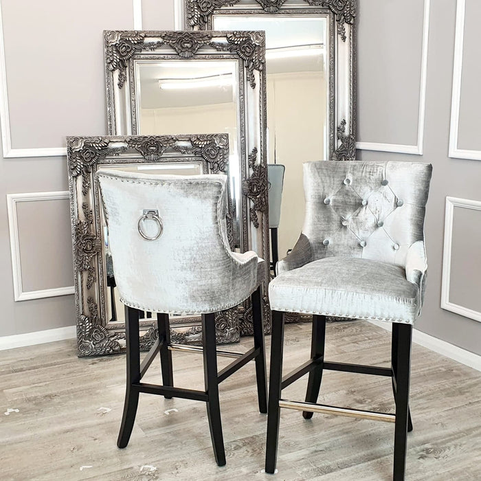 Alexander / Duke Bar Stool (Plain Back, Plain Knocker) - Pewter Shimmer