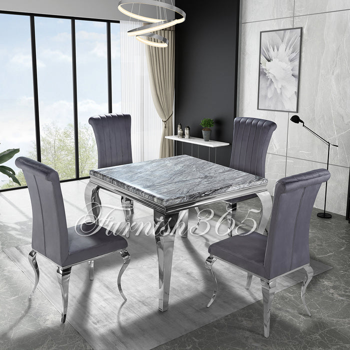 1m | Dark Grey Marble | Louis Dining Set | Nicole Chairs