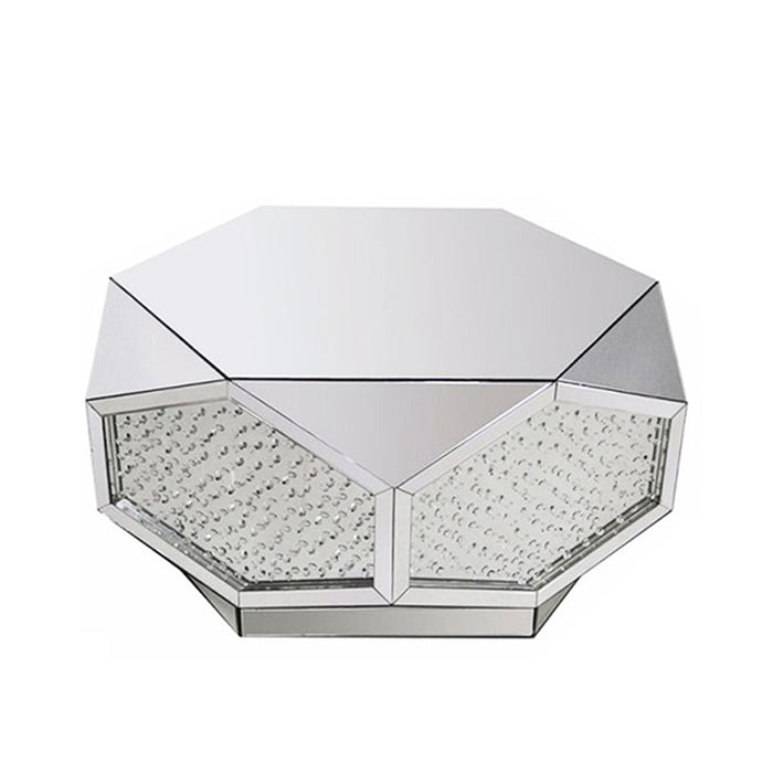 Floating Crystal Mirrored Large Hexagonal Coffee Table