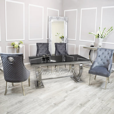 2m | Black Glass | Arianna Dining Set | Bentley Chairs
