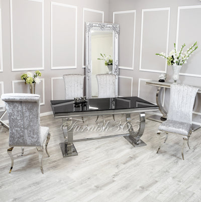 2m | Black Glass | Arianna Dining Set | Nicole Chairs