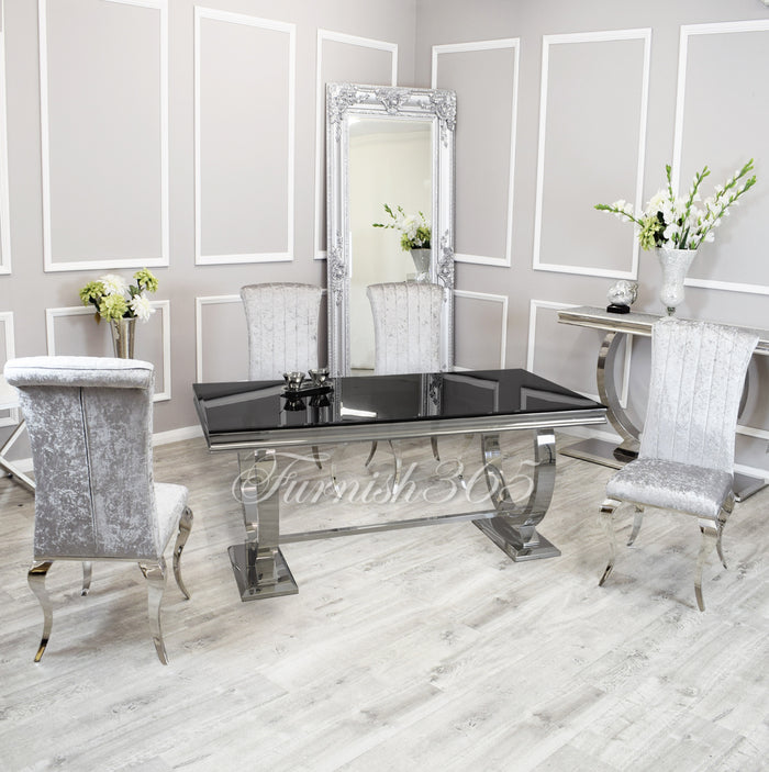 1.8m | Black Glass | Arianna Dining Set | Nicole Chairs