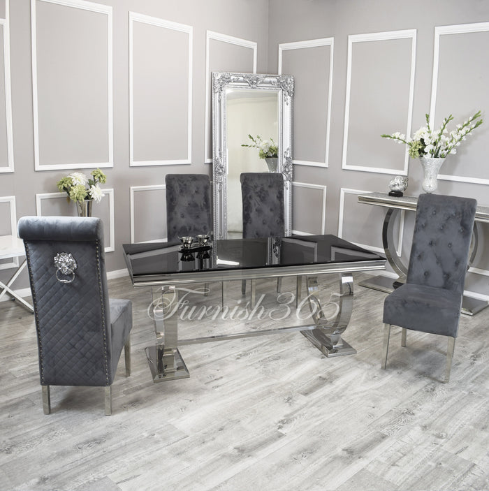 1.8m | Black Glass | Arianna Dining Set | Emma Chairs