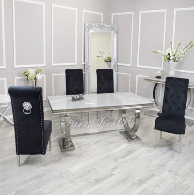 1.8m | White Glass | Arianna Dining Set | Emma Chairs