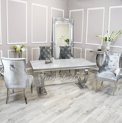 1.8m | White Glass | Arianna Dining Set | Duke Chairs