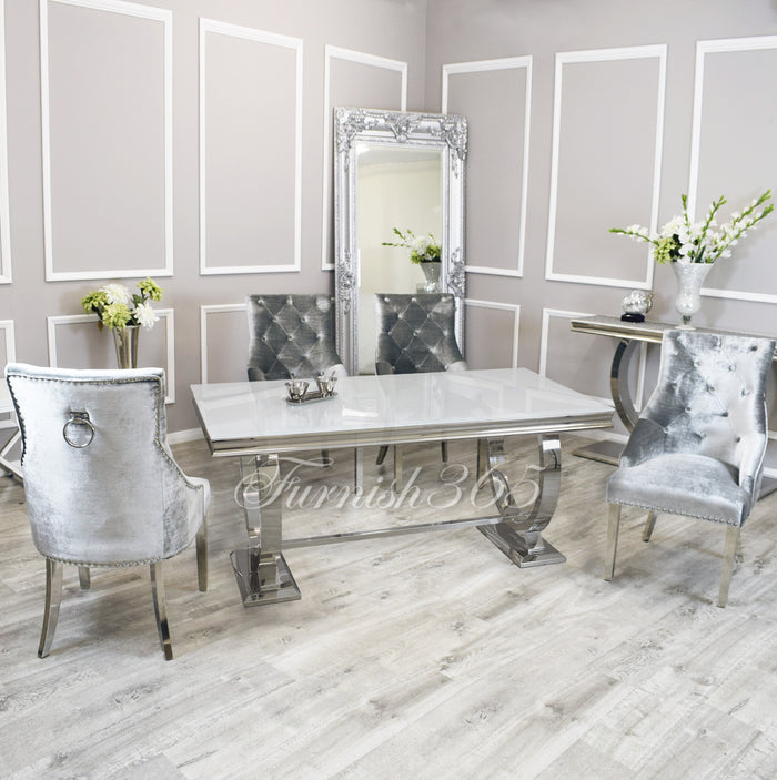 2m | White Glass | Arianna Dining Set | Duke Chairs